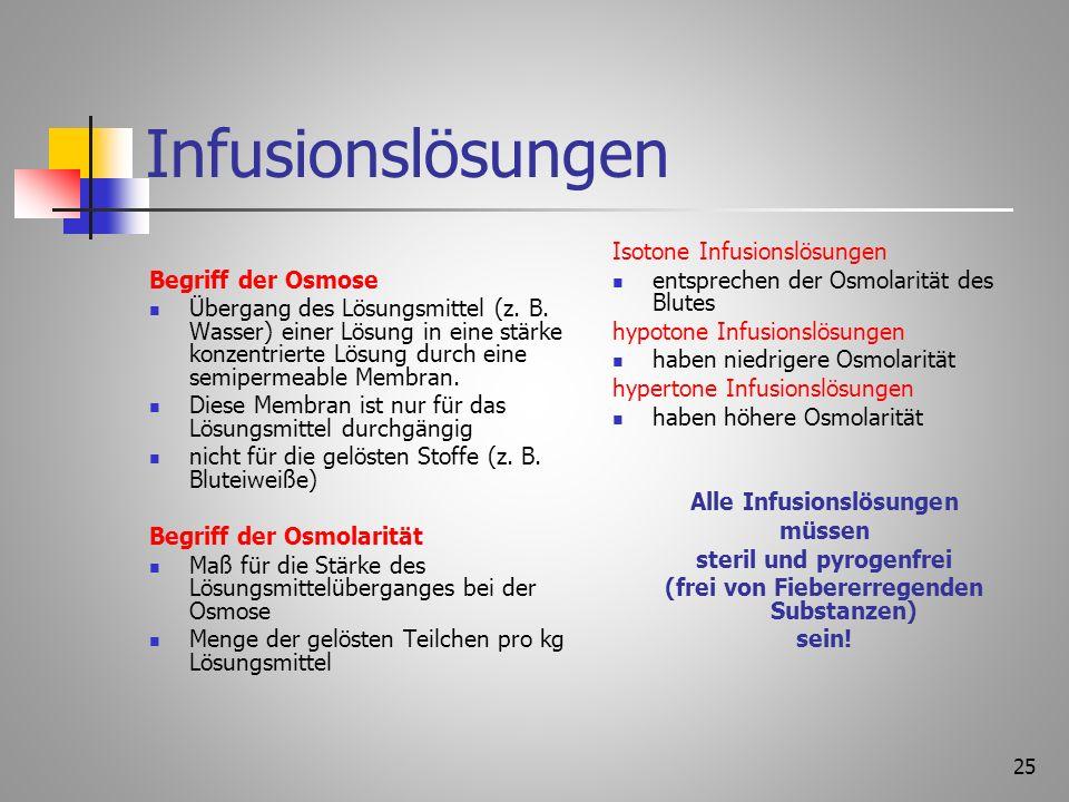 24 Arten von Infusionen Gefäßort intravenös intraarteriell (bei arteriellen Durchblutungsstörungen) subcutan (selten) intraossär im Notfall bei Kinder