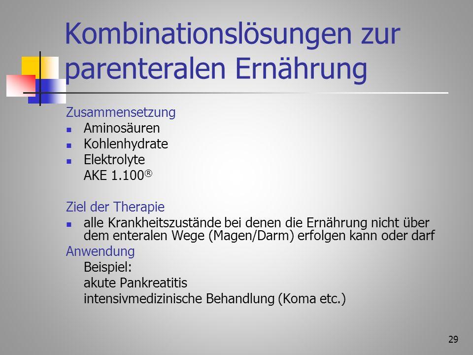 28 Aminosäurelösungen Anwendung Trauma nach Op. nach mehrtägiger Nahrungskarenz bei schweren Erkrankungen mit Eiweißdefizit (Leber, Niere) Ziel der Th