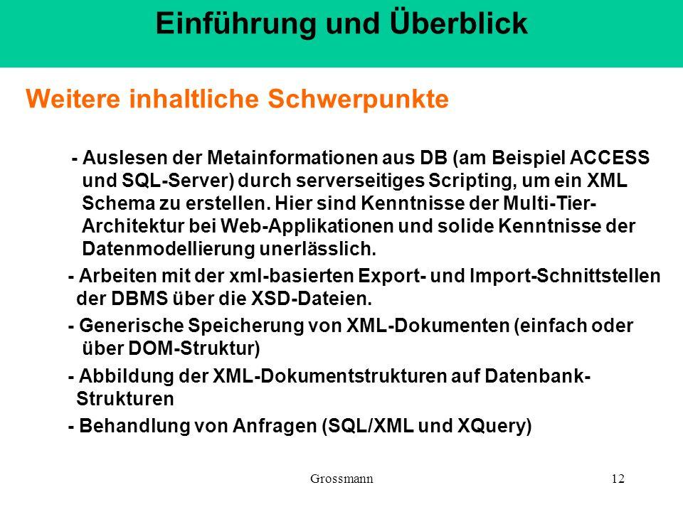 Grossmann12 Weitere inhaltliche Schwerpunkte - Auslesen der Metainformationen aus DB (am Beispiel ACCESS und SQL-Server) durch serverseitiges Scriptin