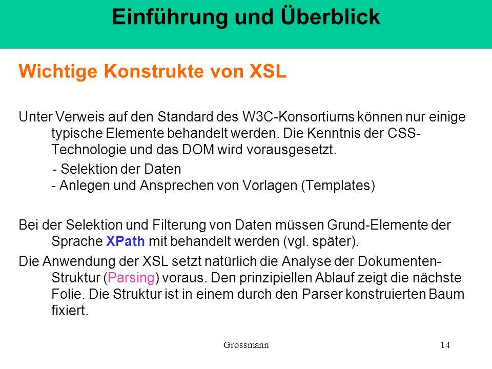 Grossmann14 Wichtige Konstrukte von XSL Unter Verweis auf den Standard des W3C-Konsortiums können nur einige typische Elemente behandelt werden. Die K