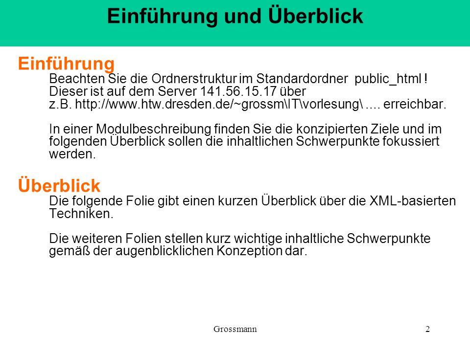 Grossmann2 Einführung Beachten Sie die Ordnerstruktur im Standardordner public_html ! Dieser ist auf dem Server 141.56.15.17 über z.B. http://www.htw.