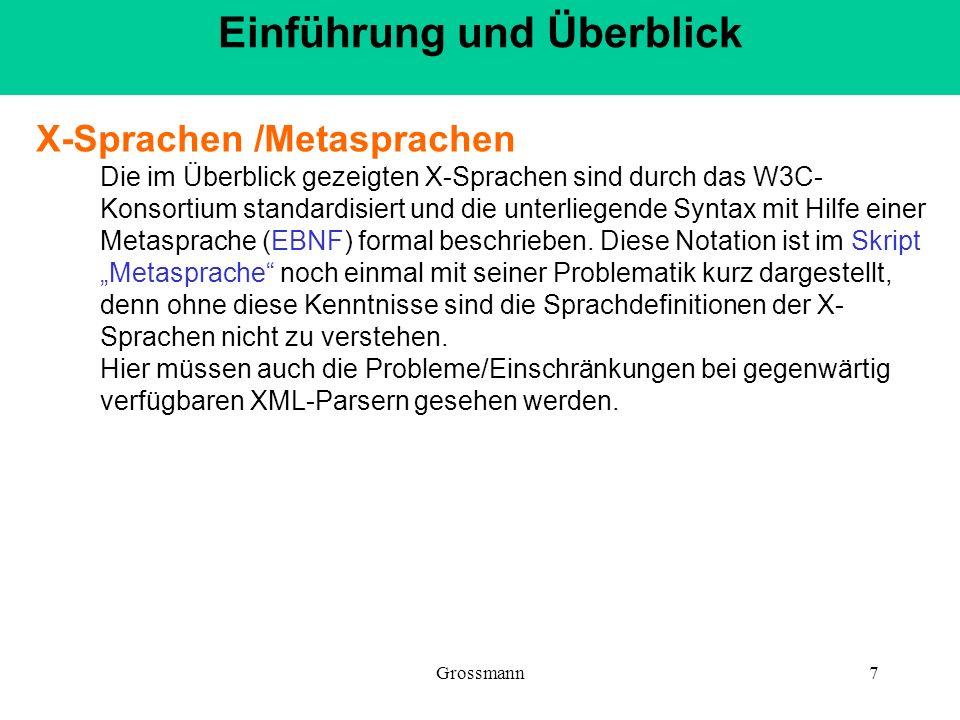 Grossmann7 X-Sprachen /Metasprachen Die im Überblick gezeigten X-Sprachen sind durch das W3C- Konsortium standardisiert und die unterliegende Syntax m