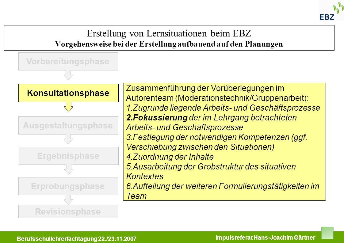 BFW Immobilienkongress 11.05.2007 Berufsschullehrerfachtagung 22./23.11.2007 Impulsreferat Hans-Joachim Gärtner Vorbereitungsphase Konsultationsphase