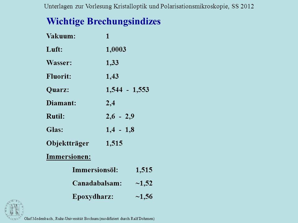 Olaf Medenbach, Ruhr-Universität Bochum (modifiziert durch Ralf Dohmen) Unterlagen zur Vorlesung Kristalloptik und Polarisationsmikroskopie, SS 2012 W
