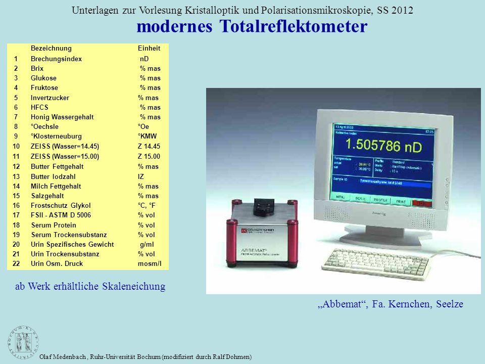 Olaf Medenbach, Ruhr-Universität Bochum (modifiziert durch Ralf Dohmen) Unterlagen zur Vorlesung Kristalloptik und Polarisationsmikroskopie, SS 2012 B