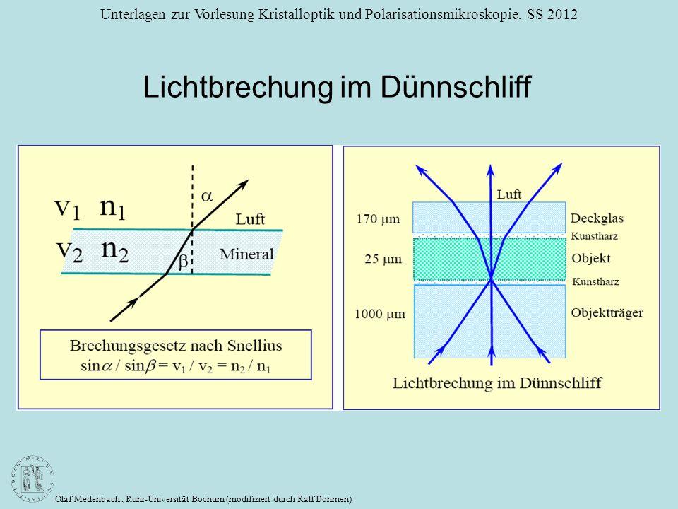 Olaf Medenbach, Ruhr-Universität Bochum (modifiziert durch Ralf Dohmen) Unterlagen zur Vorlesung Kristalloptik und Polarisationsmikroskopie, SS 2012 L