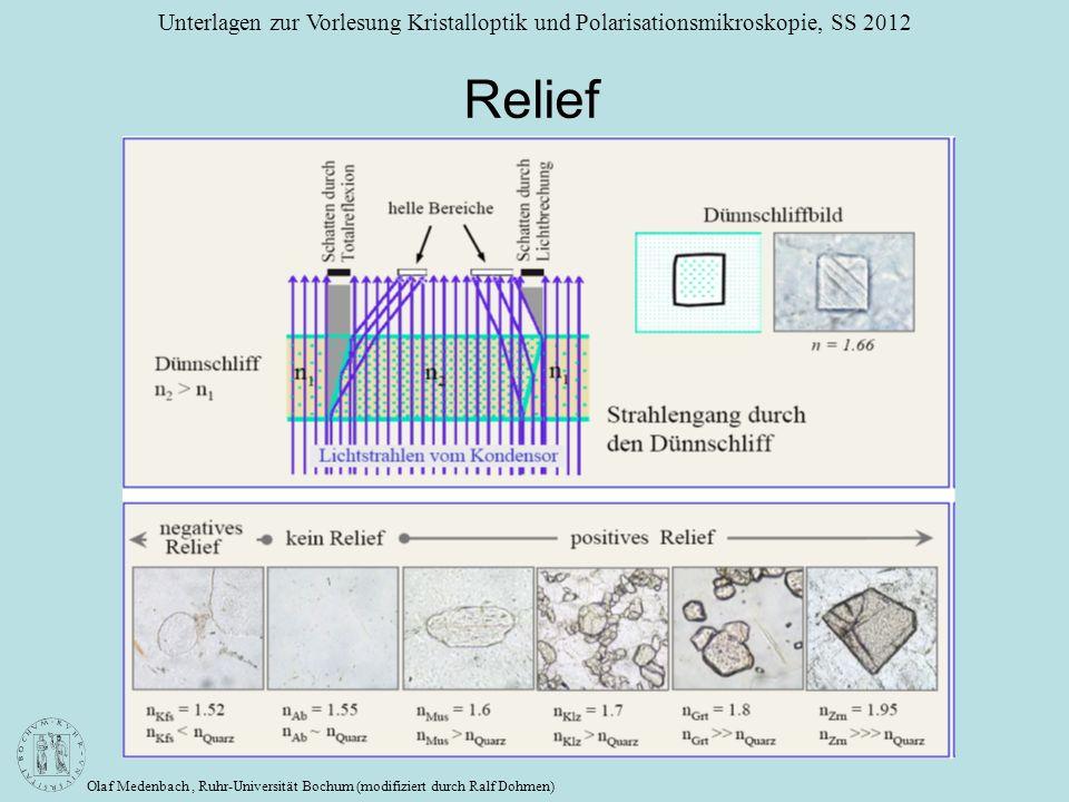 Olaf Medenbach, Ruhr-Universität Bochum (modifiziert durch Ralf Dohmen) Unterlagen zur Vorlesung Kristalloptik und Polarisationsmikroskopie, SS 2012 R