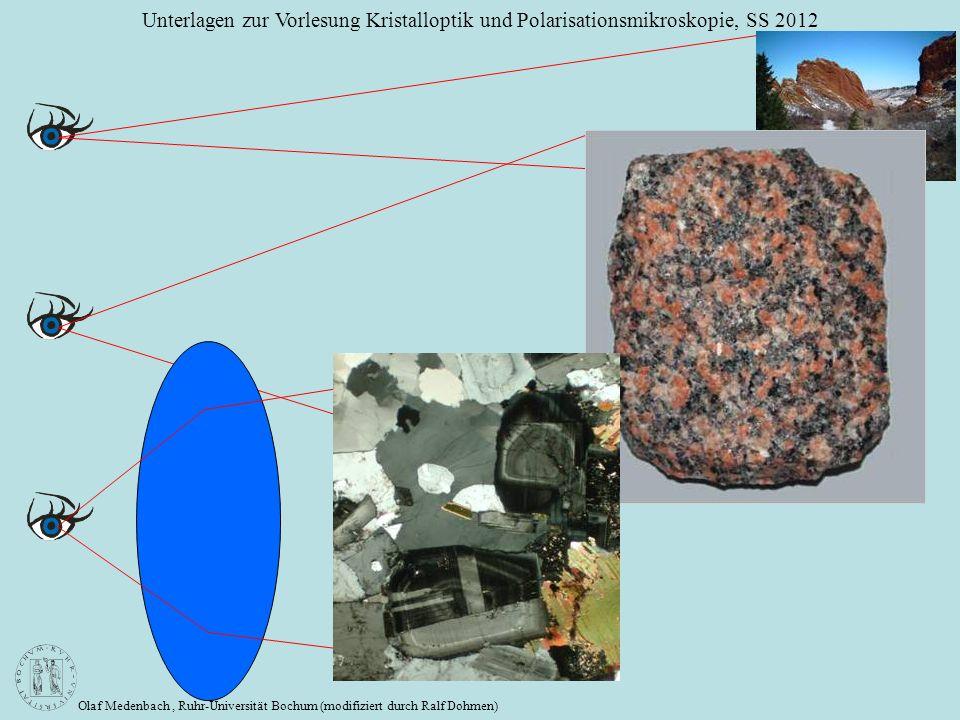 Olaf Medenbach, Ruhr-Universität Bochum (modifiziert durch Ralf Dohmen) Unterlagen zur Vorlesung Kristalloptik und Polarisationsmikroskopie, SS 2012