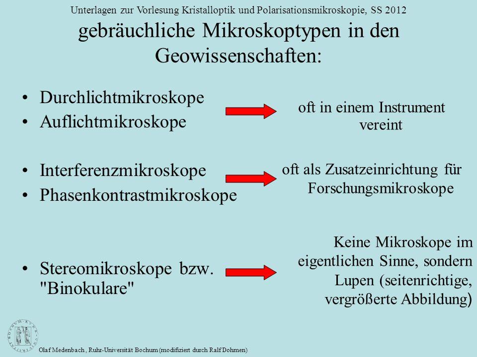 Olaf Medenbach, Ruhr-Universität Bochum (modifiziert durch Ralf Dohmen) Unterlagen zur Vorlesung Kristalloptik und Polarisationsmikroskopie, SS 2012 g