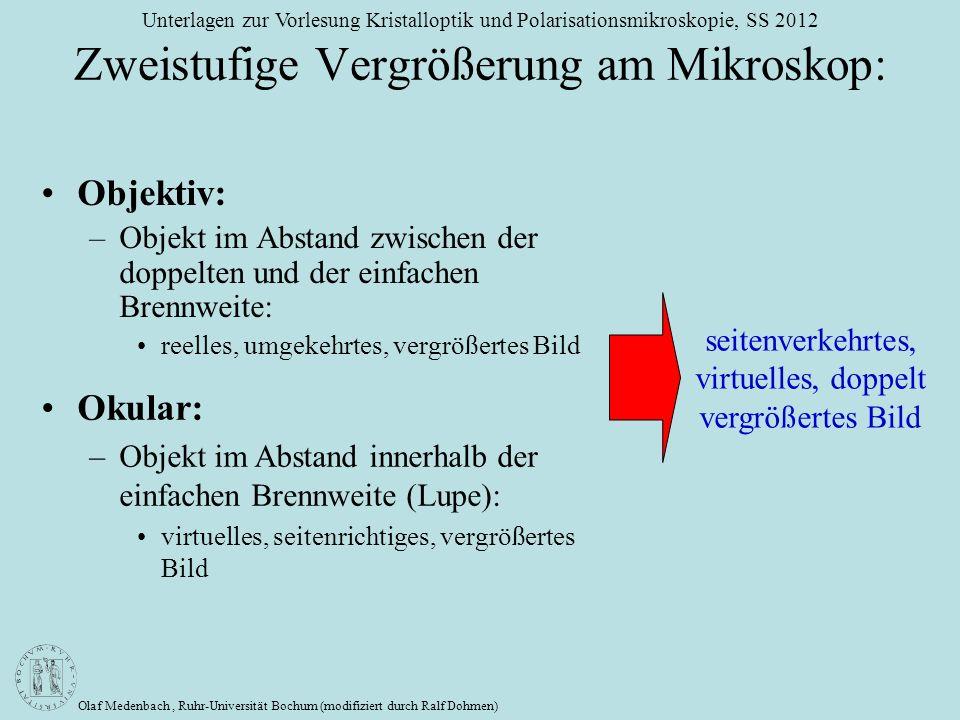Olaf Medenbach, Ruhr-Universität Bochum (modifiziert durch Ralf Dohmen) Unterlagen zur Vorlesung Kristalloptik und Polarisationsmikroskopie, SS 2012 Z