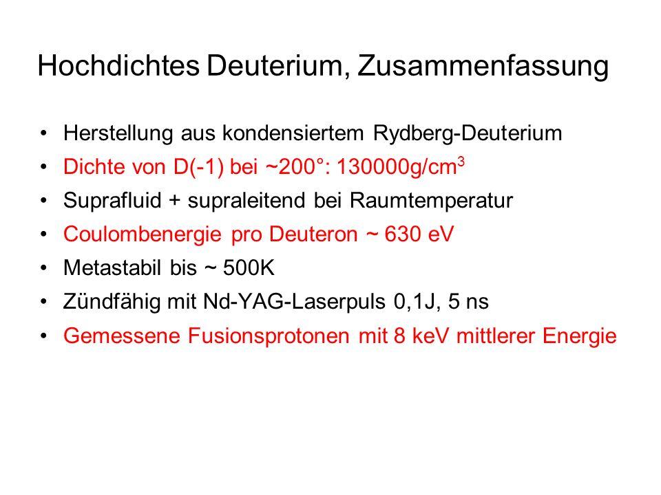 Hochdichtes Deuterium, Zusammenfassung Herstellung aus kondensiertem Rydberg-Deuterium Dichte von D(-1) bei ~200°: 130000g/cm 3 Suprafluid + supraleit