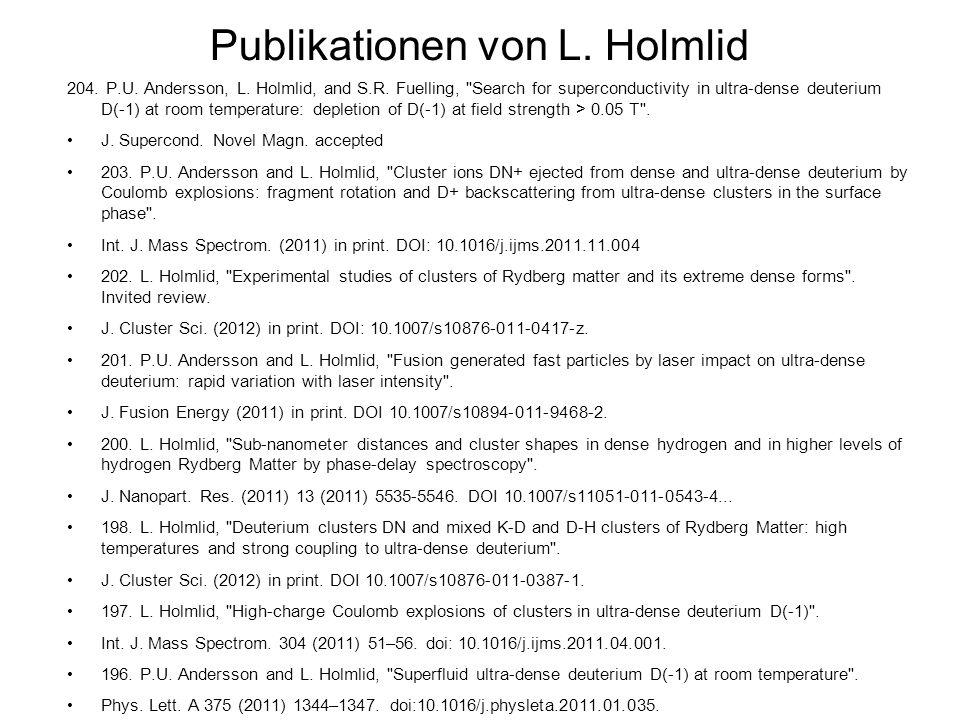 Publikationen von L. Holmlid 204. P.U. Andersson, L. Holmlid, and S.R. Fuelling,