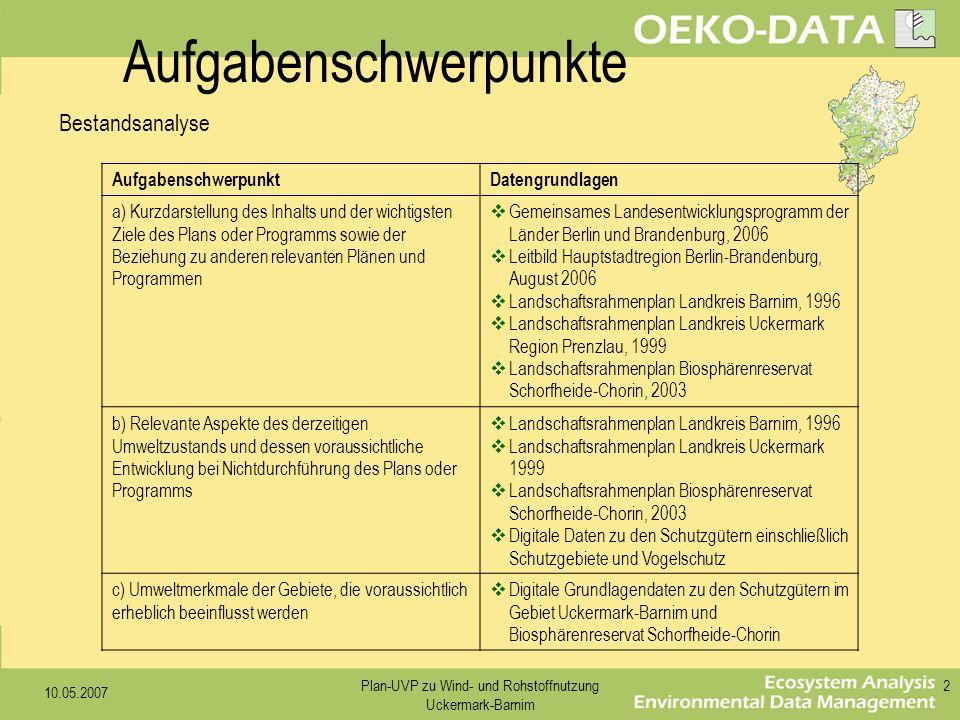 10.05.2007 Plan-UVP zu Wind- und Rohstoffnutzung Uckermark-Barnim 2 AufgabenschwerpunktDatengrundlagen a) Kurzdarstellung des Inhalts und der wichtigs