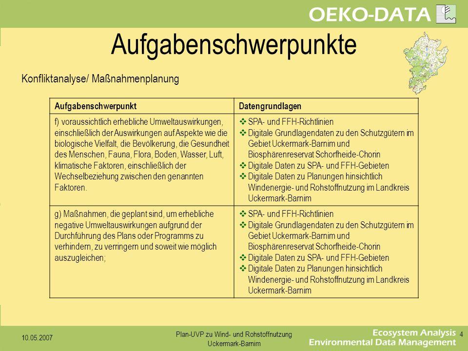10.05.2007 Plan-UVP zu Wind- und Rohstoffnutzung Uckermark-Barnim 4 AufgabenschwerpunktDatengrundlagen f) voraussichtlich erhebliche Umweltauswirkunge