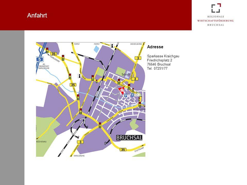 Anfahrt Adresse Sparkasse Kraichgau Friedrichsplatz 2 76646 Bruchsal Tel. 07251/77