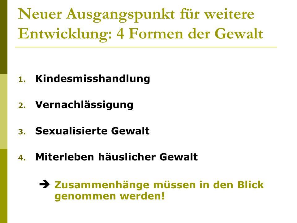 Neuer Ausgangspunkt für weitere Entwicklung: 4 Formen der Gewalt 1. Kindesmisshandlung 2. Vernachlässigung 3. Sexualisierte Gewalt 4. Miterleben häusl