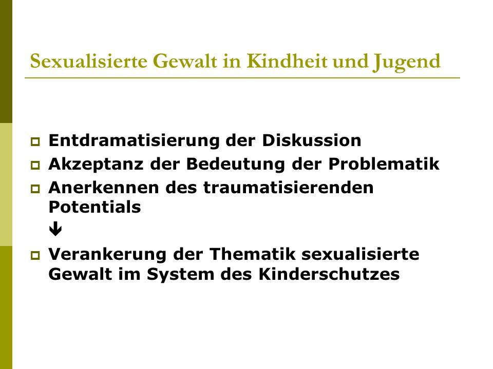 Sexualisierte Gewalt in Kindheit und Jugend Entdramatisierung der Diskussion Akzeptanz der Bedeutung der Problematik Anerkennen des traumatisierenden