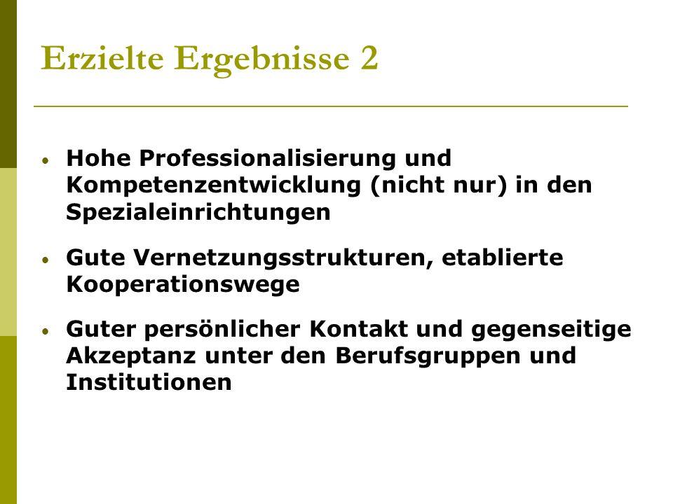 Erzielte Ergebnisse 2 Hohe Professionalisierung und Kompetenzentwicklung (nicht nur) in den Spezialeinrichtungen Gute Vernetzungsstrukturen, etabliert
