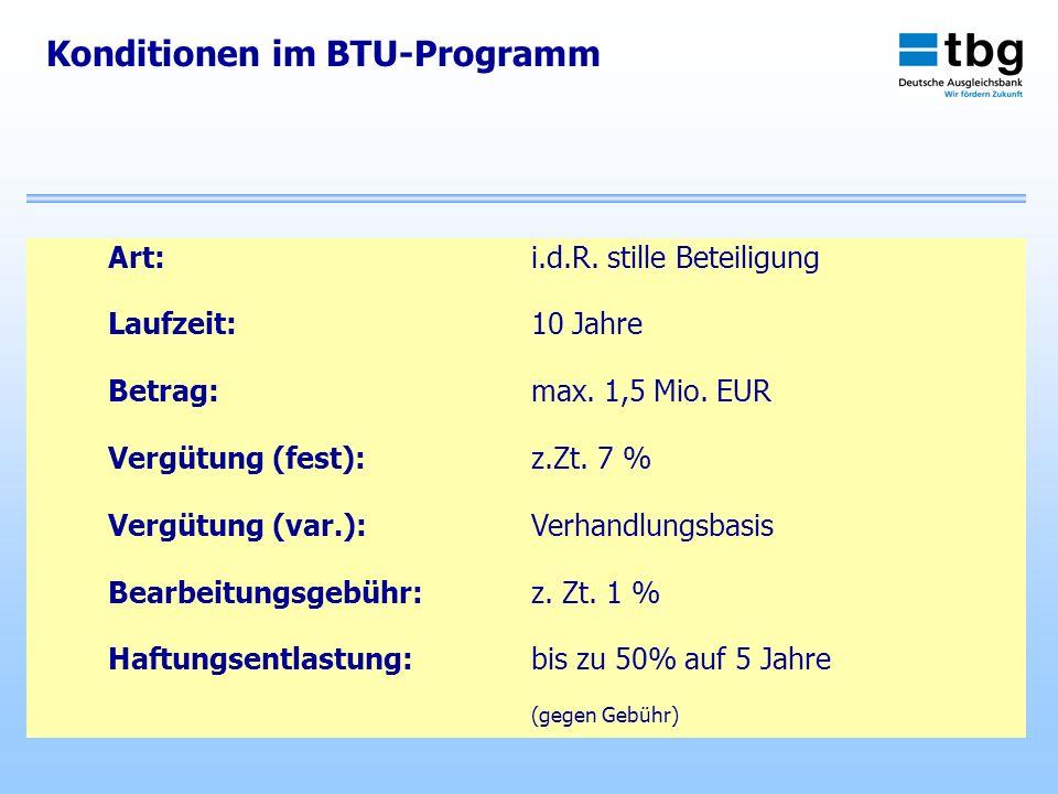 Konditionen im BTU-Programm Art:i.d.R. stille Beteiligung Laufzeit:10 Jahre Betrag:max. 1,5 Mio. EUR Vergütung (fest):z.Zt. 7 % Vergütung (var.):Verha