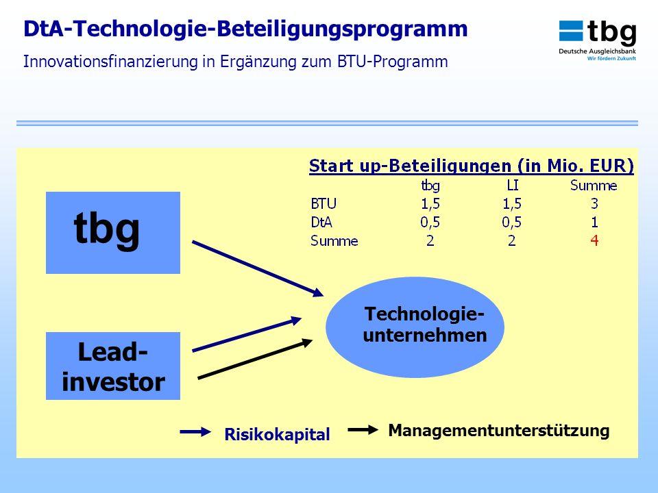 Managementunterstützung tbg Lead- investor Technologie- unternehmen Risikokapital DtA-Technologie-Beteiligungsprogramm Innovationsfinanzierung in Ergä