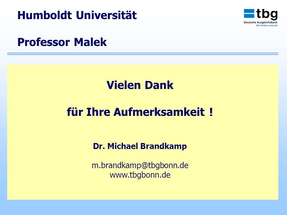Vielen Dank für Ihre Aufmerksamkeit ! Dr. Michael Brandkamp m.brandkamp@tbgbonn.de www.tbgbonn.de Humboldt Universität Professor Malek