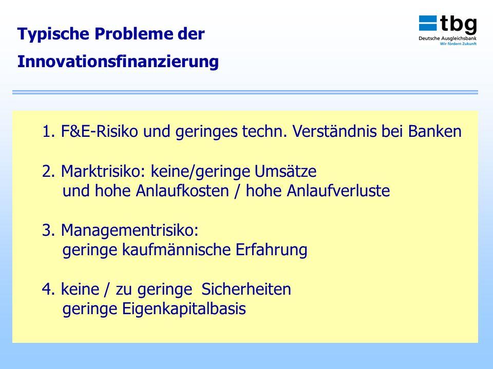 Typische Probleme der Innovationsfinanzierung 1. F&E-Risiko und geringes techn. Verständnis bei Banken 2. Marktrisiko: keine/geringe Umsätze und hohe