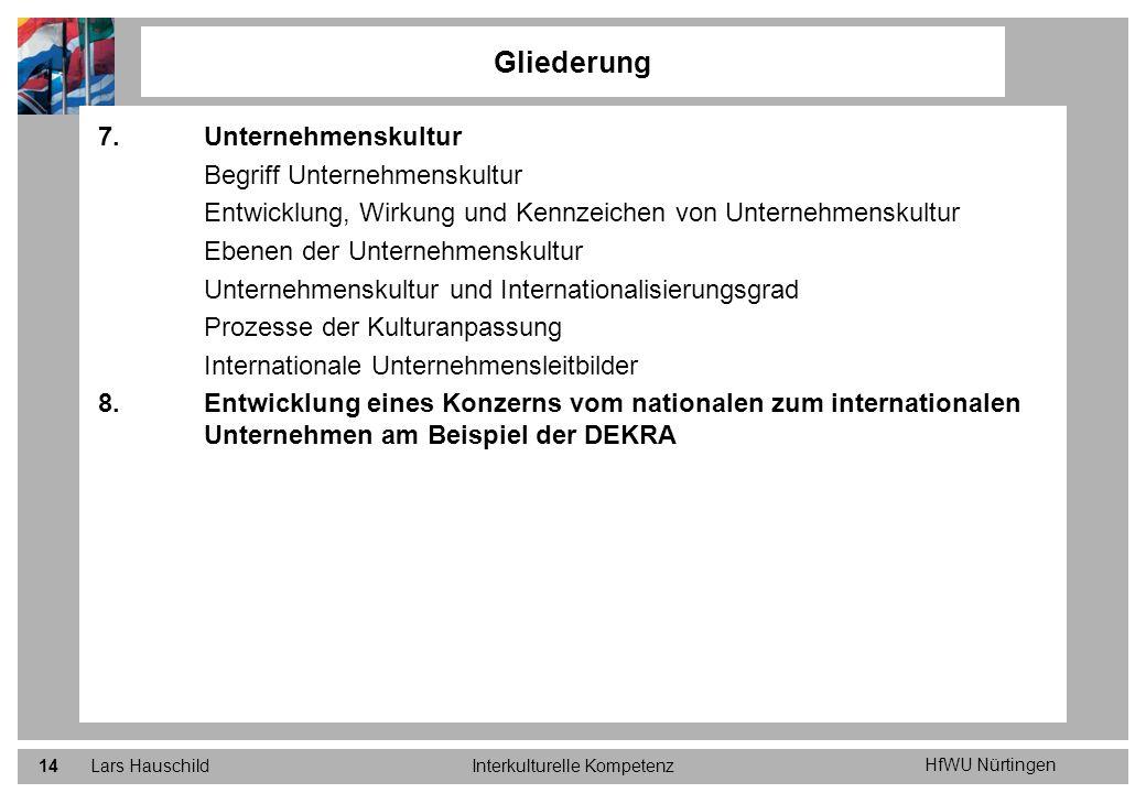 HfWU Nürtingen Lars HauschildInterkulturelle Kompetenz14 7.Unternehmenskultur Begriff Unternehmenskultur Entwicklung, Wirkung und Kennzeichen von Unte