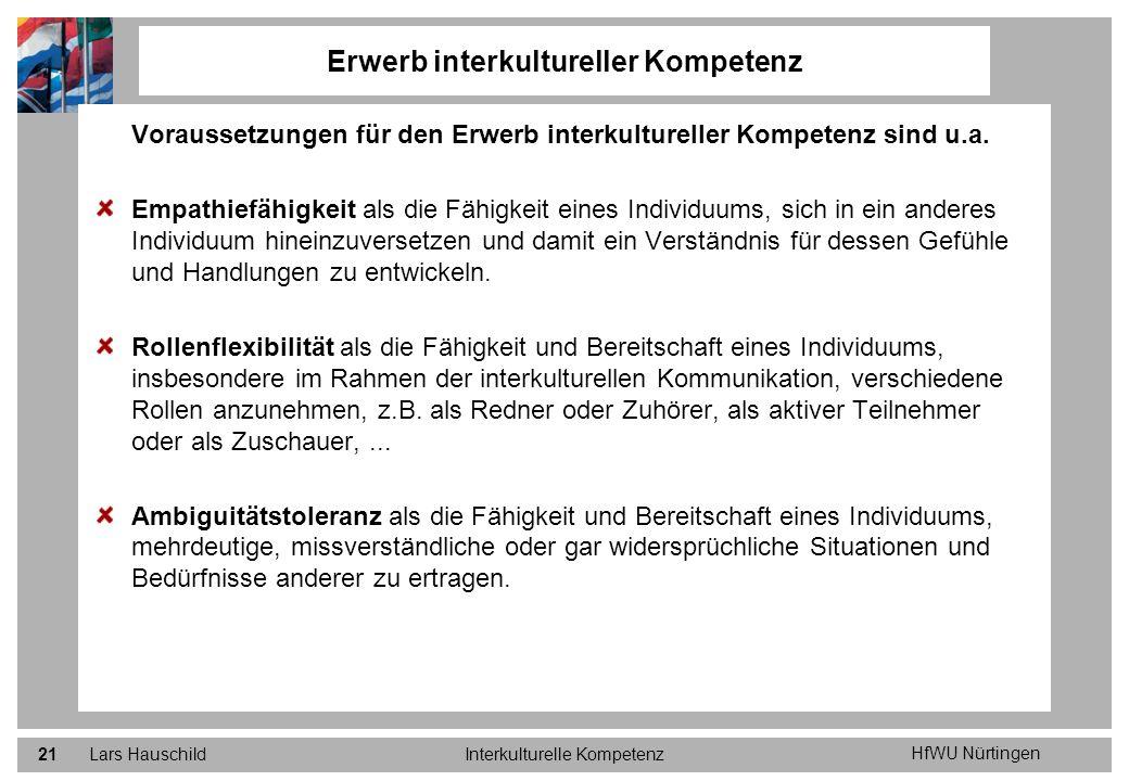 HfWU Nürtingen Lars HauschildInterkulturelle Kompetenz21 Voraussetzungen für den Erwerb interkultureller Kompetenz sind u.a. Empathiefähigkeit als die