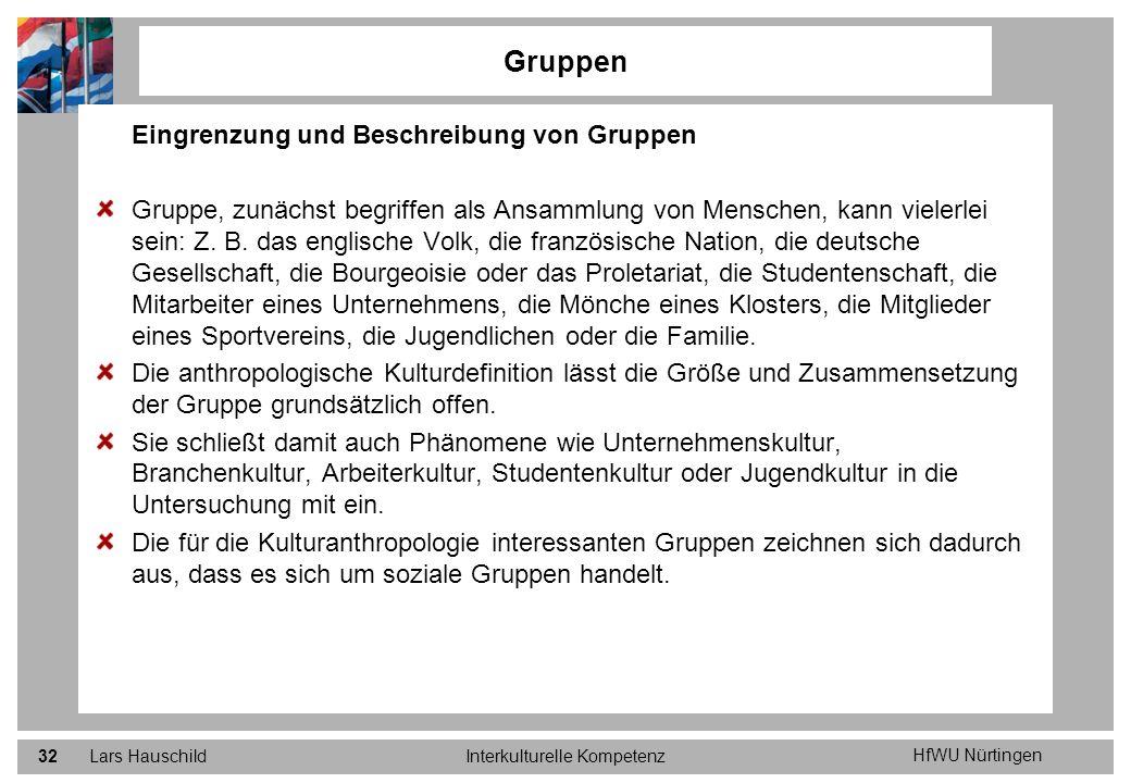 HfWU Nürtingen Lars HauschildInterkulturelle Kompetenz32 Gruppen Eingrenzung und Beschreibung von Gruppen Gruppe, zunächst begriffen als Ansammlung vo