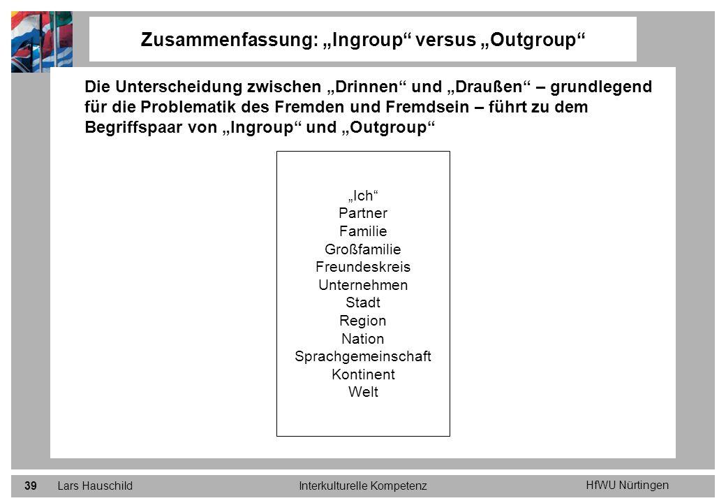 HfWU Nürtingen Lars HauschildInterkulturelle Kompetenz39 Zusammenfassung: Ingroup versus Outgroup Die Unterscheidung zwischen Drinnen und Draußen – gr