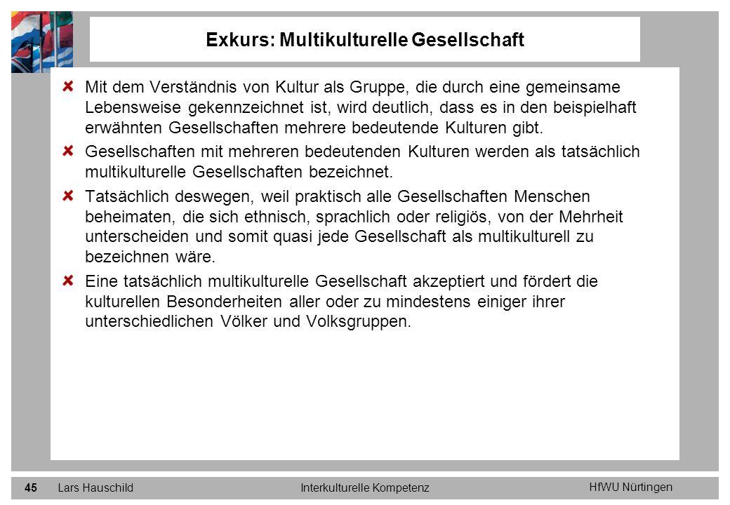 HfWU Nürtingen Lars HauschildInterkulturelle Kompetenz45 Exkurs: Multikulturelle Gesellschaft Mit dem Verständnis von Kultur als Gruppe, die durch ein