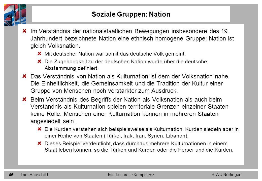HfWU Nürtingen Lars HauschildInterkulturelle Kompetenz46 Soziale Gruppen: Nation Im Verständnis der nationalstaatlichen Bewegungen insbesondere des 19
