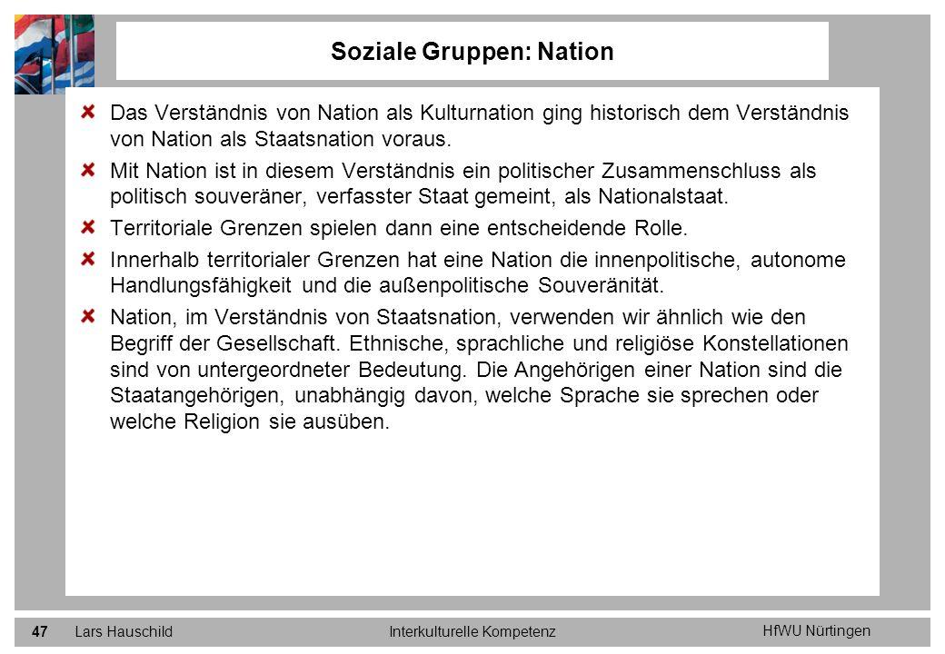 HfWU Nürtingen Lars HauschildInterkulturelle Kompetenz47 Soziale Gruppen: Nation Das Verständnis von Nation als Kulturnation ging historisch dem Verst