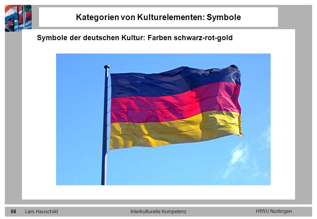 HfWU Nürtingen Lars HauschildInterkulturelle Kompetenz58 Kategorien von Kulturelementen: Symbole Symbole der deutschen Kultur: Farben schwarz-rot-gold
