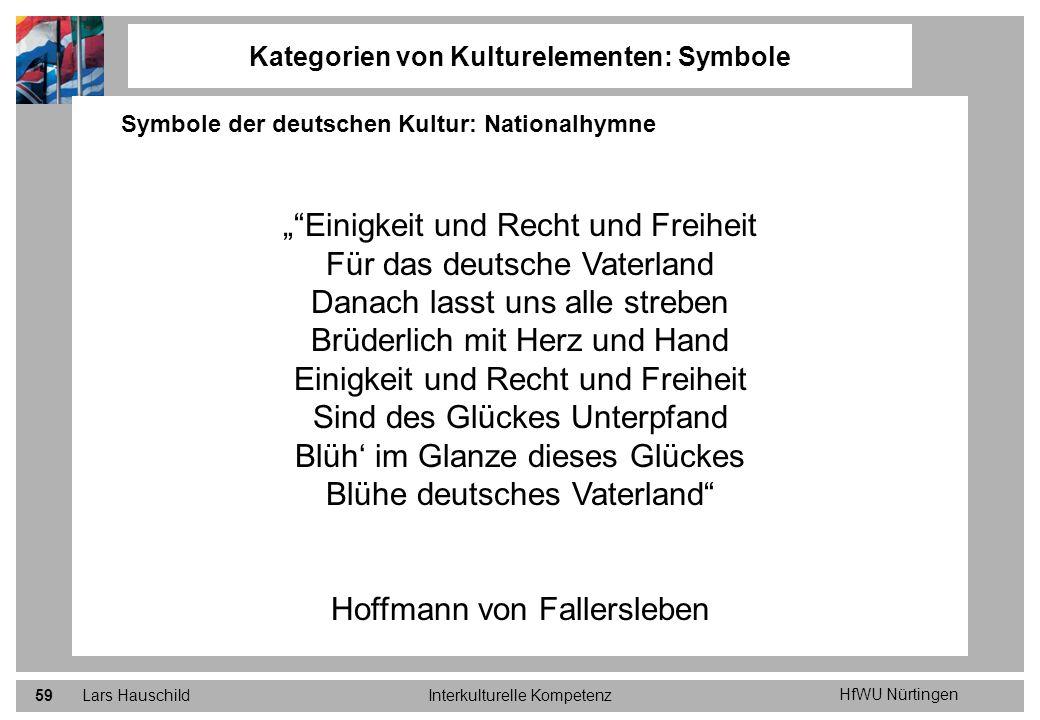 HfWU Nürtingen Lars HauschildInterkulturelle Kompetenz59 Kategorien von Kulturelementen: Symbole Symbole der deutschen Kultur: Nationalhymne Einigkeit