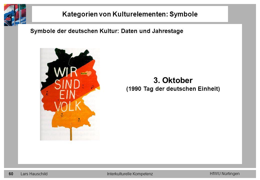 HfWU Nürtingen Lars HauschildInterkulturelle Kompetenz60 Kategorien von Kulturelementen: Symbole Symbole der deutschen Kultur: Daten und Jahrestage 3.