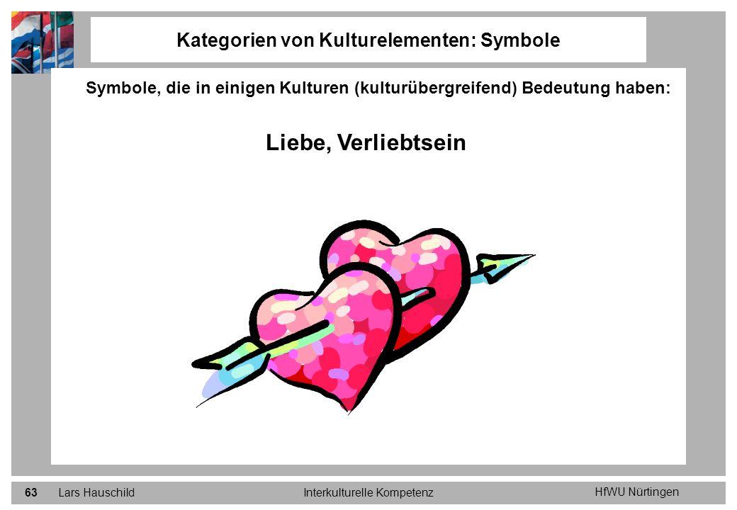 HfWU Nürtingen Lars HauschildInterkulturelle Kompetenz63 Kategorien von Kulturelementen: Symbole Symbole, die in einigen Kulturen (kulturübergreifend)