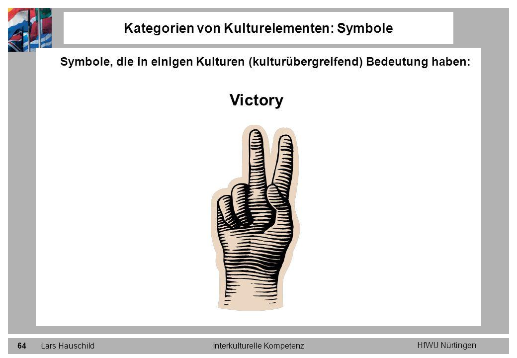 HfWU Nürtingen Lars HauschildInterkulturelle Kompetenz64 Kategorien von Kulturelementen: Symbole Symbole, die in einigen Kulturen (kulturübergreifend)