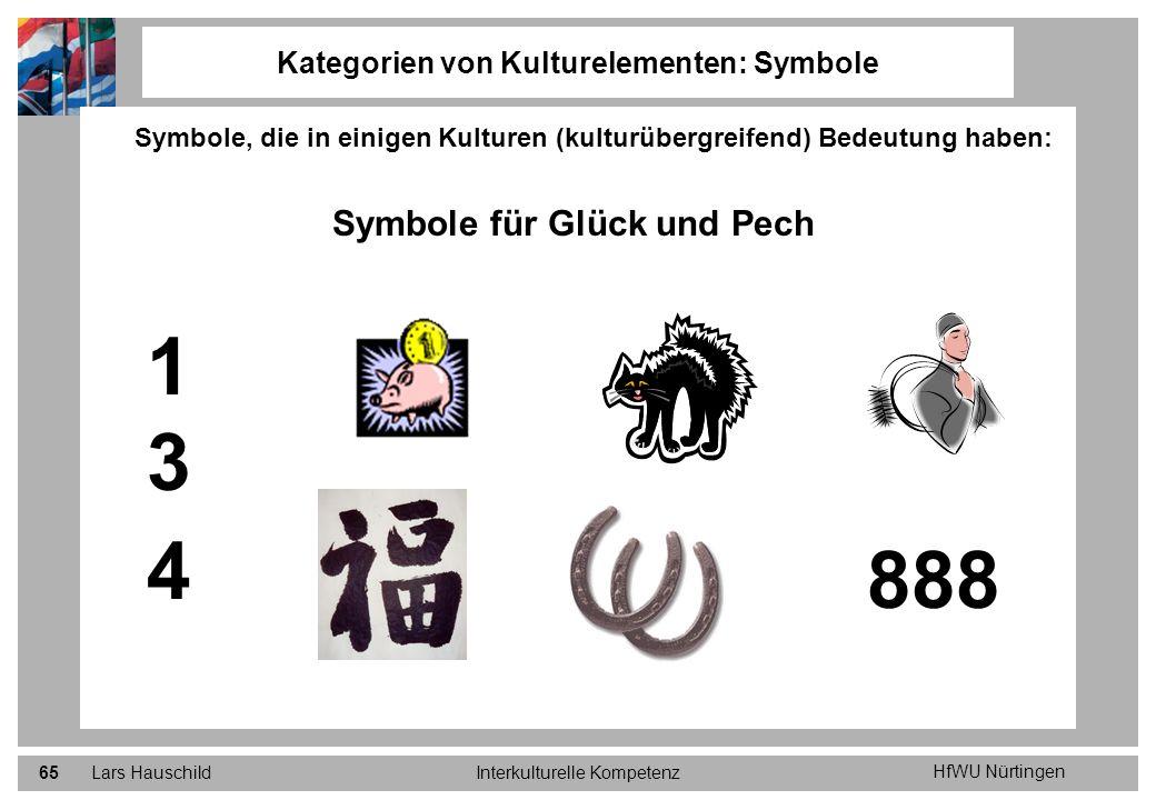 HfWU Nürtingen Lars HauschildInterkulturelle Kompetenz65 Kategorien von Kulturelementen: Symbole Symbole, die in einigen Kulturen (kulturübergreifend)