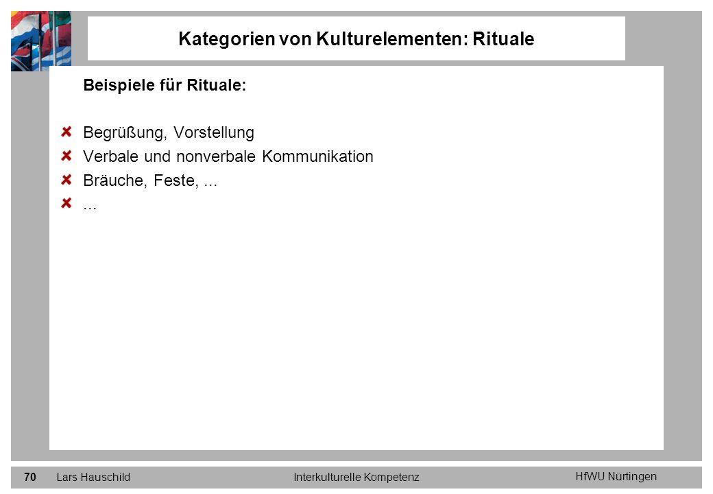 HfWU Nürtingen Lars HauschildInterkulturelle Kompetenz70 Kategorien von Kulturelementen: Rituale Beispiele für Rituale: Begrüßung, Vorstellung Verbale