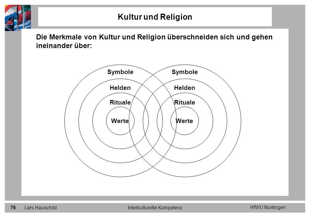 HfWU Nürtingen Lars HauschildInterkulturelle Kompetenz76 Die Merkmale von Kultur und Religion überschneiden sich und gehen ineinander über: Kultur und