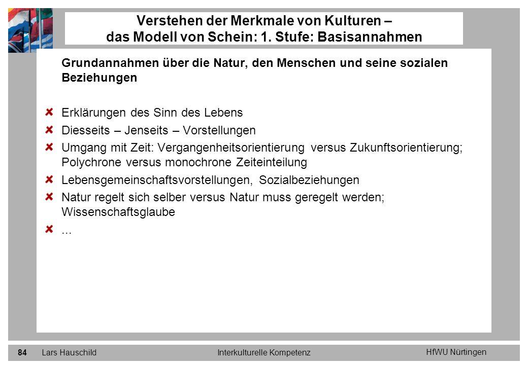 HfWU Nürtingen Lars HauschildInterkulturelle Kompetenz84 Grundannahmen über die Natur, den Menschen und seine sozialen Beziehungen Erklärungen des Sin
