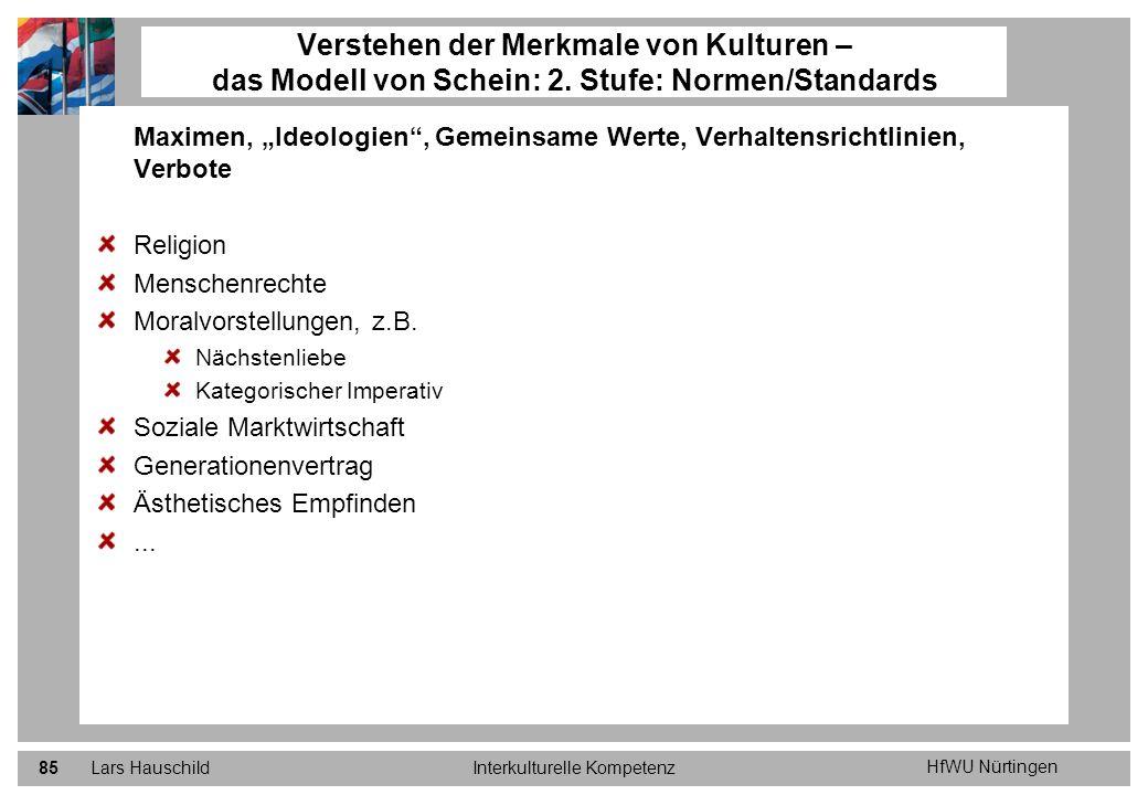 HfWU Nürtingen Lars HauschildInterkulturelle Kompetenz85 Maximen, Ideologien, Gemeinsame Werte, Verhaltensrichtlinien, Verbote Religion Menschenrechte