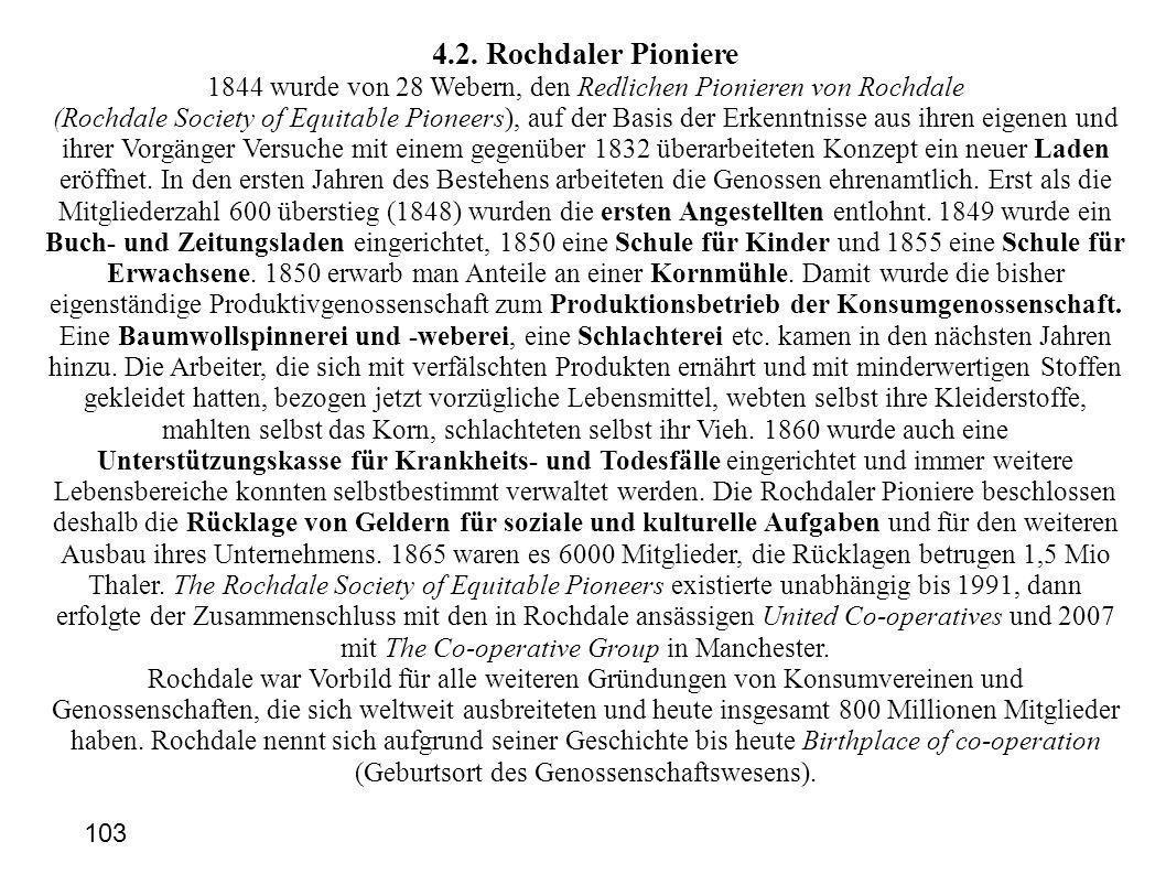 4.2. Rochdaler Pioniere 1844 wurde von 28 Webern, den Redlichen Pionieren von Rochdale (Rochdale Society of Equitable Pioneers), auf der Basis der Erk