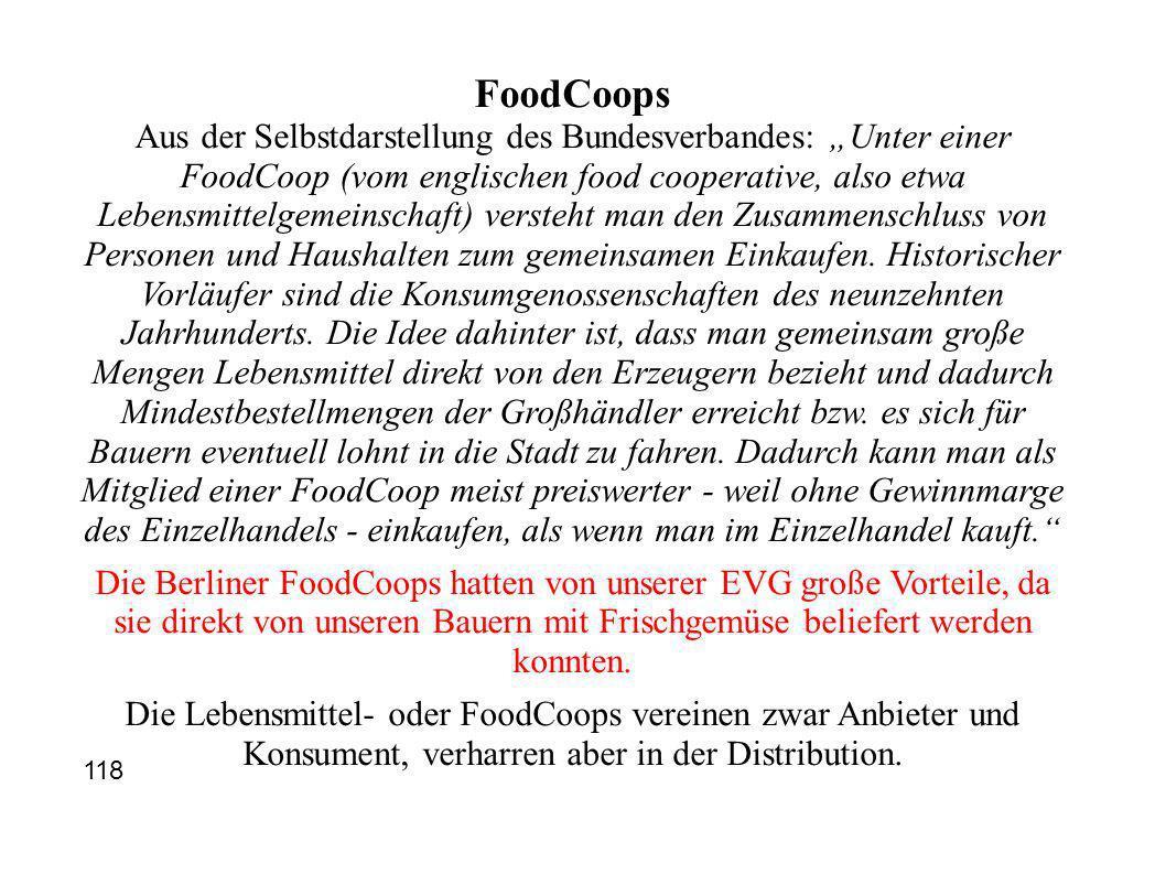 FoodCoops Aus der Selbstdarstellung des Bundesverbandes: Unter einer FoodCoop (vom englischen food cooperative, also etwa Lebensmittelgemeinschaft) versteht man den Zusammenschluss von Personen und Haushalten zum gemeinsamen Einkaufen.