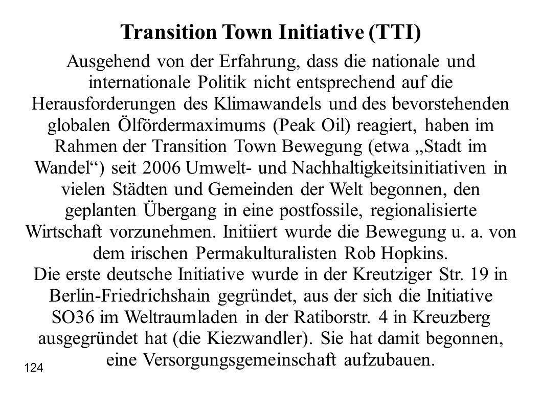 Transition Town Initiative (TTI) Ausgehend von der Erfahrung, dass die nationale und internationale Politik nicht entsprechend auf die Herausforderungen des Klimawandels und des bevorstehenden globalen Ölfördermaximums (Peak Oil) reagiert, haben im Rahmen der Transition Town Bewegung (etwa Stadt im Wandel) seit 2006 Umwelt- und Nachhaltigkeitsinitiativen in vielen Städten und Gemeinden der Welt begonnen, den geplanten Übergang in eine postfossile, regionalisierte Wirtschaft vorzunehmen.