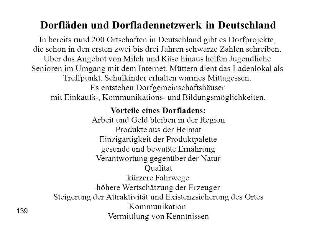 Dorfläden und Dorfladennetzwerk in Deutschland In bereits rund 200 Ortschaften in Deutschland gibt es Dorfprojekte, die schon in den ersten zwei bis drei Jahren schwarze Zahlen schreiben.