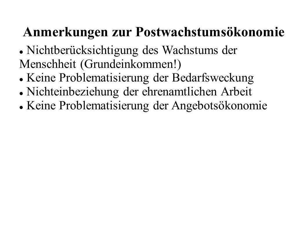 Anmerkungen zur Postwachstumsökonomie Nichtberücksichtigung des Wachstums der Menschheit (Grundeinkommen!) Keine Problematisierung der Bedarfsweckung Nichteinbeziehung der ehrenamtlichen Arbeit Keine Problematisierung der Angebotsökonomie