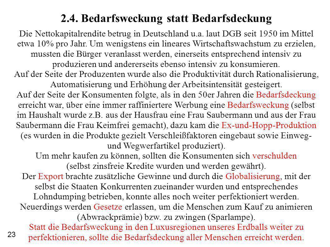 2.4.Bedarfsweckung statt Bedarfsdeckung Die Nettokapitalrendite betrug in Deutschland u.a.