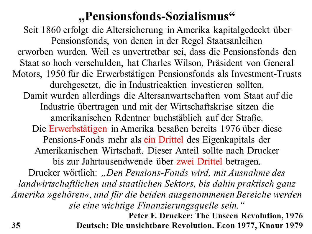Pensionsfonds-Sozialismus Seit 1860 erfolgt die Altersicherung in Amerika kapitalgedeckt über Pensionsfonds, von denen in der Regel Staatsanleihen erworben wurden.